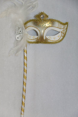 Masquerade Mask White with Stick