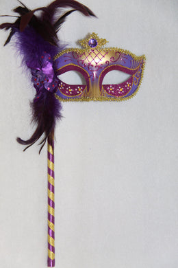 Masquerade Mask Purple with Stick
