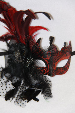 Masquerade Mask Red with Side Veil