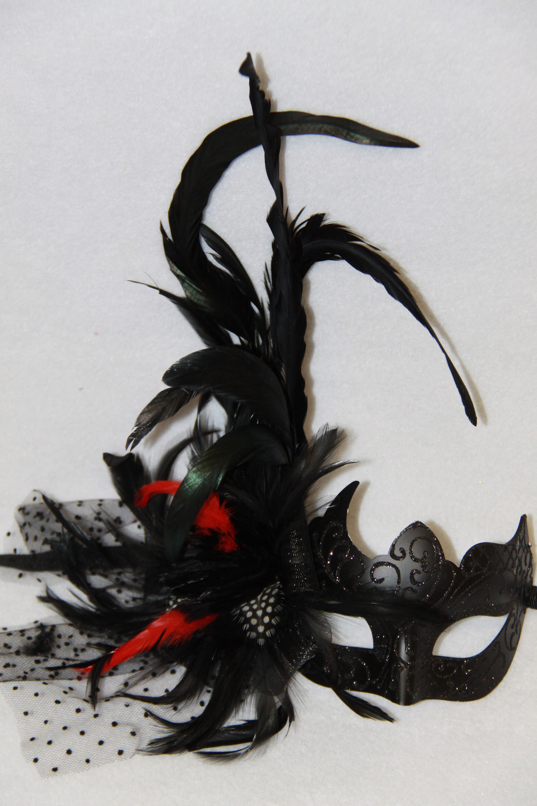 Masquerade Mask Black with Side Veil