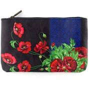 Ukrainian poppy flower print makeup pouch