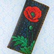 Load image into Gallery viewer, Ukrainian poppy flower & embroidery pattern large wallet