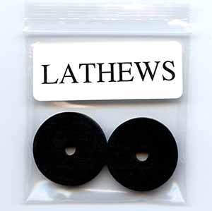 Two black foam rubber washer inserts for craft lathe