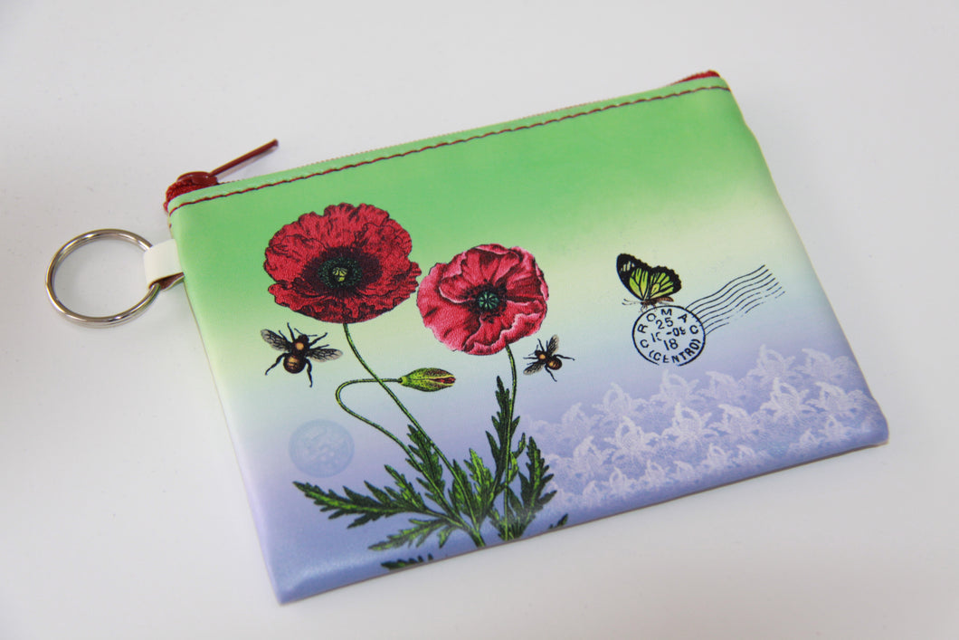 Red Poppy Coin Purse