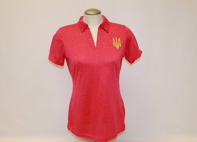 Ladies Tryzub Golf Shirt Raspberry