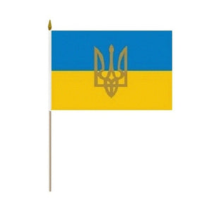 "4""x6"" Ukraine Flag with Tryzub"