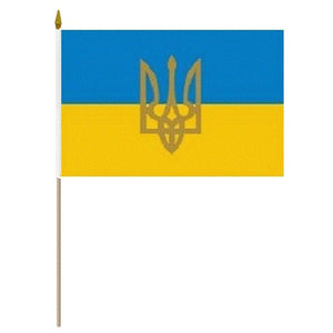 "12""x18"" Ukraine Flag with Tryzub"