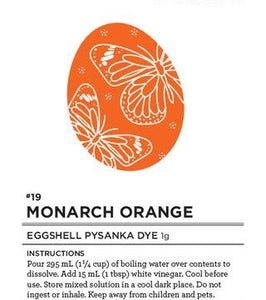 #19 Monarch Orange Eggshell Pysanka Dye