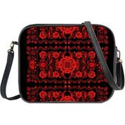 Ukrainian poppy flower embroidery pattern print cross body bag/toiletry bag
