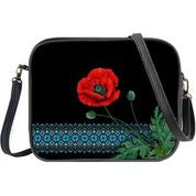 Ukrainian poppy flower & embroidery pattern print cross body bag/toiletry bag