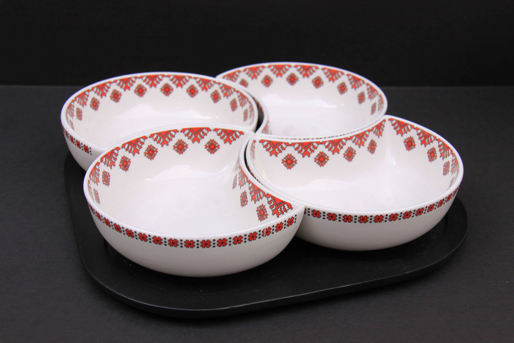 4pc serving set with tray