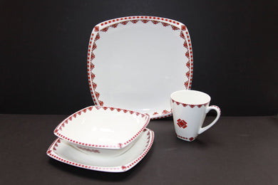 classic 4pc rounded square dishset 1 place setting