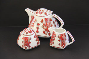 square decorative tea pot set