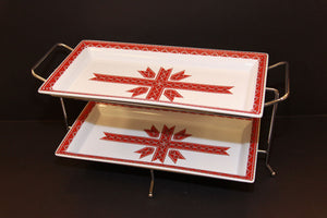 2 tiered rectangular appetizer serving trays with stand