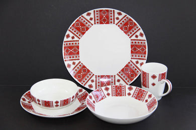 retro 5pc porcelain dish set