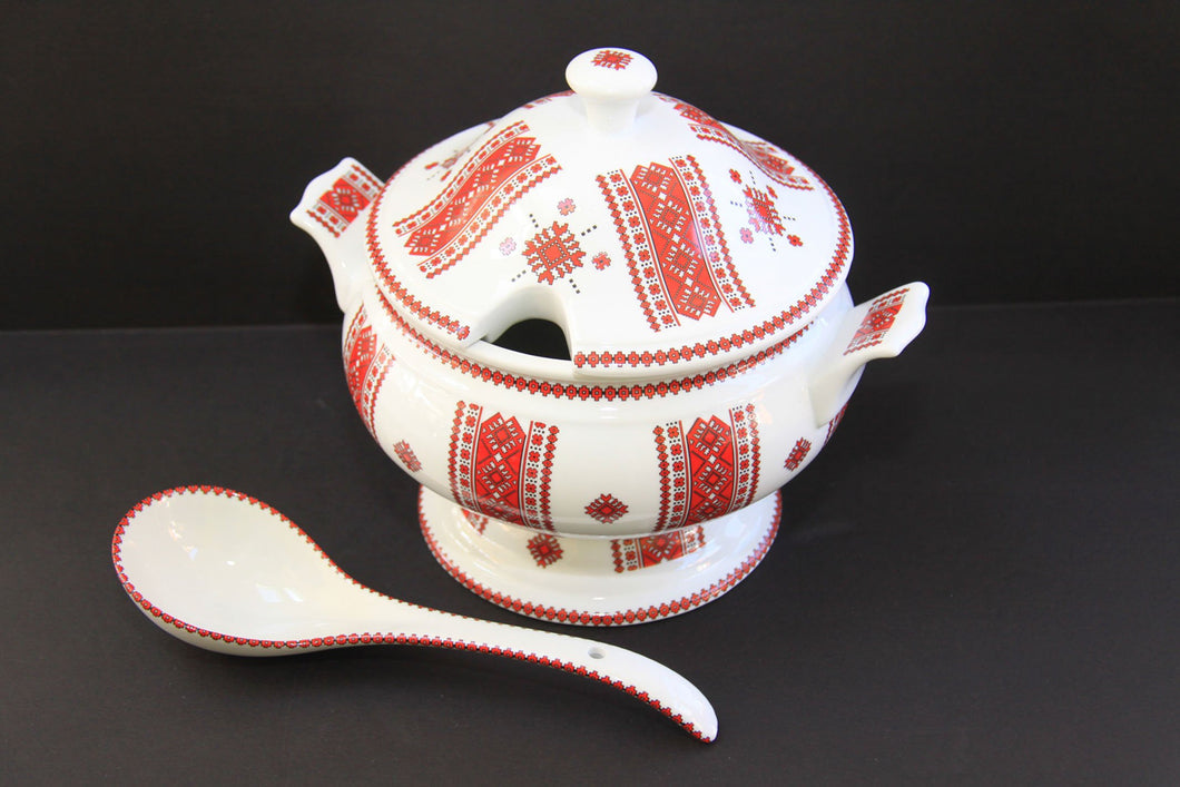 soup tureen with serving spoon