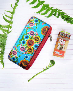 Flora Pattern Card Holder with Zipper