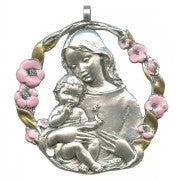 Mother and Child Pewter Crib Medal