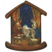 Nativity House Plaque- Christmas Tree Ornament