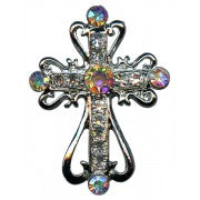 Silver Plated Cross Lapel Pin with Clear Crystals