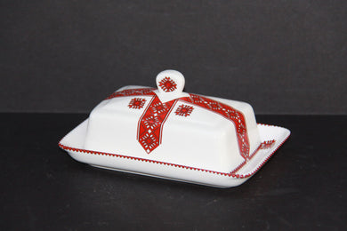 rectangular traditional covered butter dish