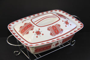 large rectangular casserole with warmer rack