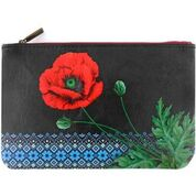 Ukrainian poppy flower & embroidery pattern makeup pouch