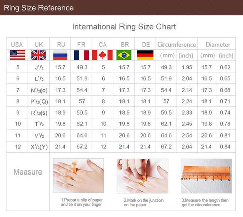 unique rings for women sizing chart