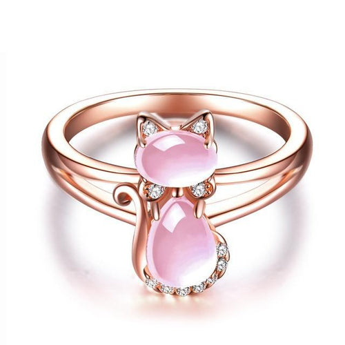 women's cat ring rose gold