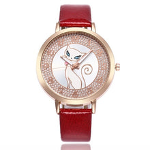 Load image into Gallery viewer, red women's cat watch