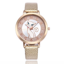Load image into Gallery viewer, gold leather cat watch