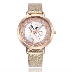 gold leather cat watch