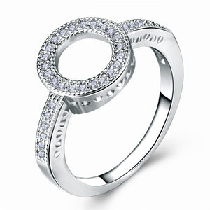 silver halo ring women