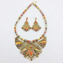 Load image into Gallery viewer, bohemian tribal necklace and earrings