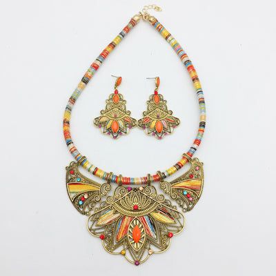 bohemian tribal necklace and earrings