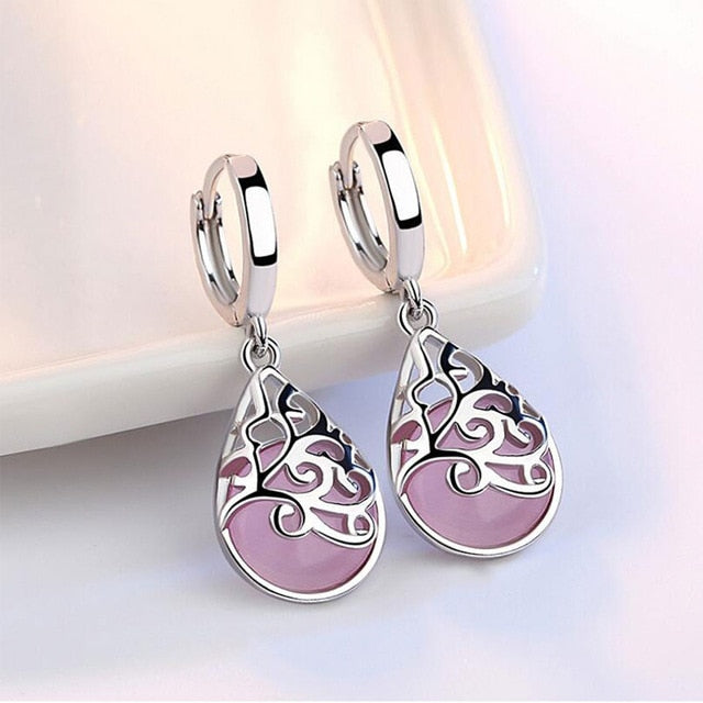 Opal Moon Sterling Silver Pink Opal Earrings