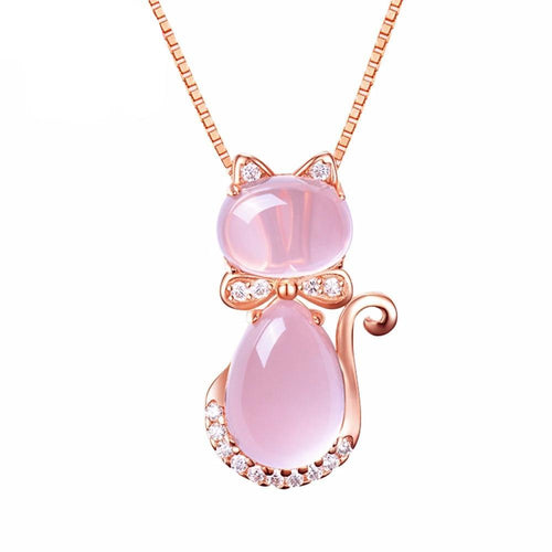 cat necklace rose gold