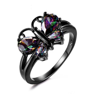 Sky Dancer Rainbow Butterfly Ring - Black Gold