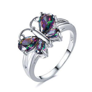 Sky Dancer Rainbow Butterfly Ring - Silver