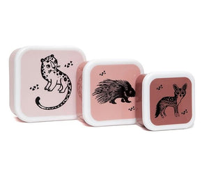 Petit Monkey Black Animals Snackbox set van 3 lunch boxen kinderen eten opbergen