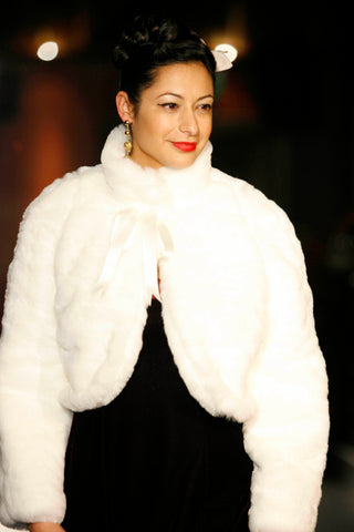 Snow White Fur Jacket with Burgundy Velvet Ballgown.