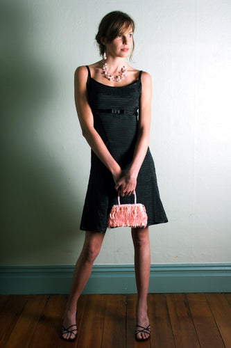 Black Self Striped Organza Cocktail Dress with front bow
