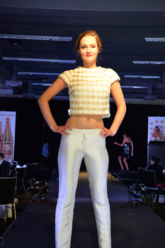 Boat Neck Cream & Gold Thread Knit Evening Jumper  with Cream Silk Slimline Pants
