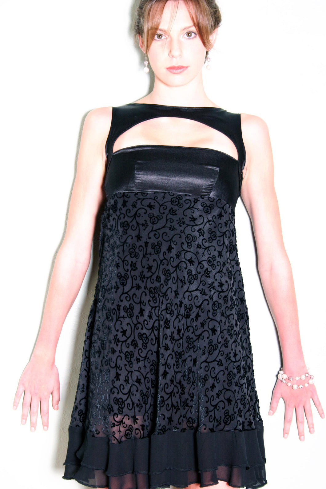 Black Burnout Silk Velvet Cocktail Dress