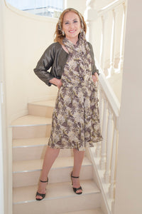 LEAF PRINT SILK DRESS. Wrapped crossover front. Semi circle skirt. Tie sash.