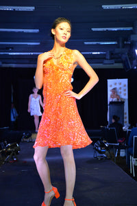ORANGE SILK VOIRE SUMMER DRESS.  PIN-TUCKED CROSSOVER STRAPS