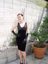 Load image into Gallery viewer, Black Sequin & Stretch Black Velvet Cocktail Dress