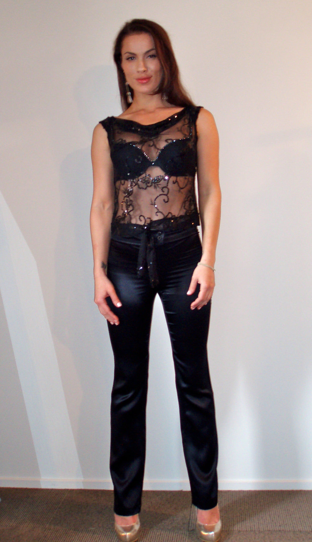 Black Beaded Mess Top & Black Silk Slimline Pants
