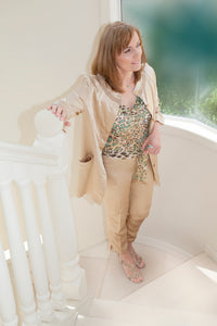 CHAMPAGNE SILK LYCRA PANTS SUIT WITH LEO0PARD PRINT SILK DRAPE NECK TOP