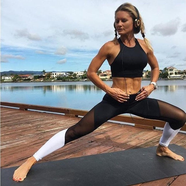 X Shape Yarn Splicing Yoga Pants Quick-Drying Elastic Running Trousers High Waist Sport Leggings Women Gym Clothes Black New